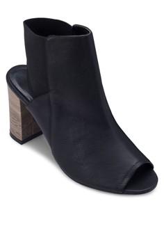 魚口鏤空木製粗跟踝靴