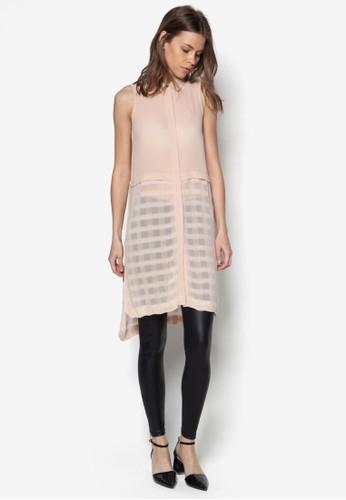 格紋拼接長版無袖上衣, 服飾zalora 鞋評價, 襯衫