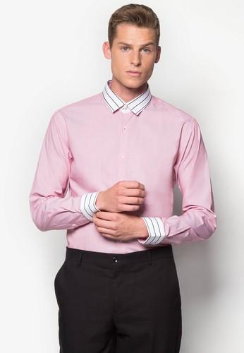 條紋拼接合身zalora 台灣長袖襯衫, 服飾, 服飾
