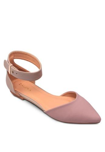 撞色踝帶尖頭平底zalora 評價鞋, 女鞋, 芭蕾平底鞋