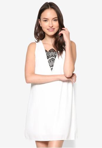 zalora鞋蕾絲拼接直筒連身裙, 服飾, 洋裝