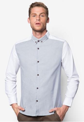 色塊拼接長袖襯衫zalora鞋, 服飾, 襯衫