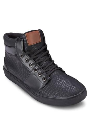 仿蛇紋zalora開箱高筒休閒鞋, 鞋, 鞋
