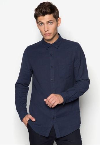 暗紋休閒長zalora 評價袖襯衫, 服飾, 服飾