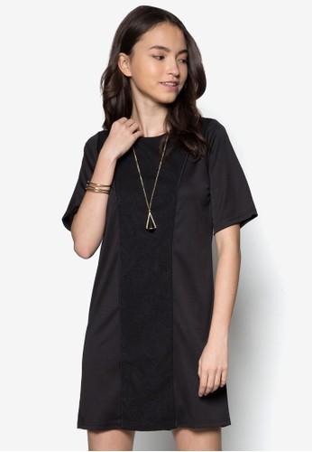 壓紋拼接直筒洋裝zalora 評價, 服飾, 服飾