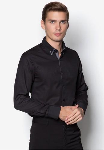 撞色滾zalora 心得邊長袖襯衫, 服飾, 服飾