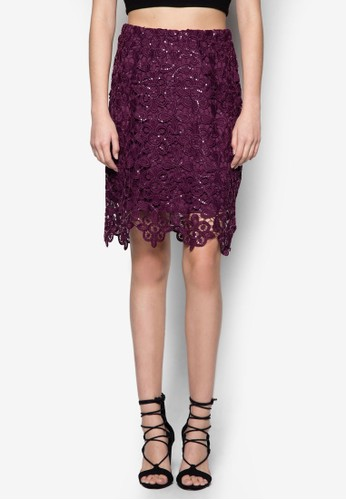 Aubergine 鉤花亮片貼身短裙, 服飾zalora鞋子評價, 及膝裙