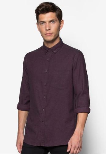 斜紋棉質長袖襯衫, 服飾,zalora 台灣 服飾