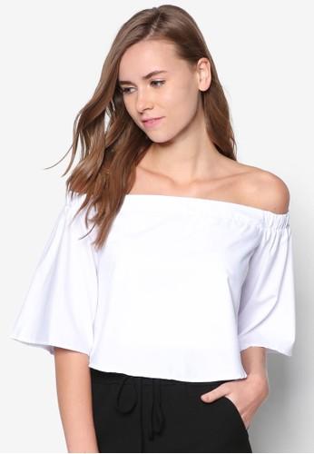 露zalora 評價肩短版上衣, 服飾, 服飾