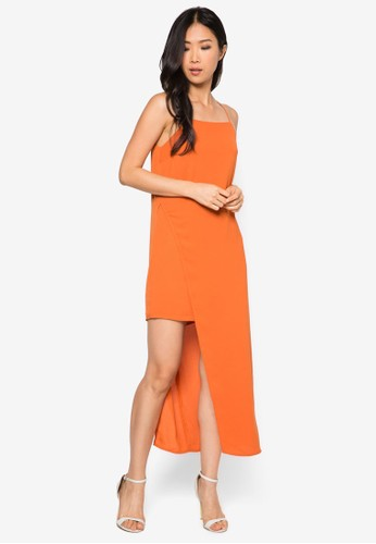 不對稱裹飾連身zalora 心得長裙, 服飾, 短洋裝