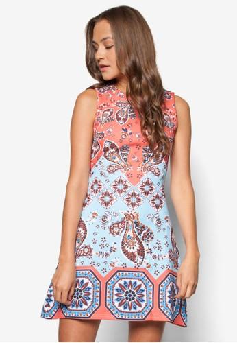 Katiah zalora 台灣印花無袖連身裙, 服飾, 夏日洋裝