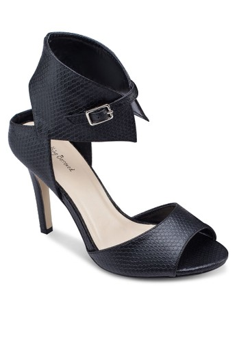 蛇zalora 鞋評價紋繞踝露趾高跟鞋, 女鞋, 鞋