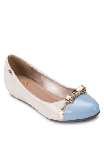 金屬蝴蝶結拼zalora 台灣色平底鞋, 女鞋, 芭蕾平底鞋