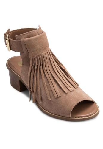 流蘇露趾zalora 評價粗跟鏤空踝靴, 女鞋, 魚口鞋