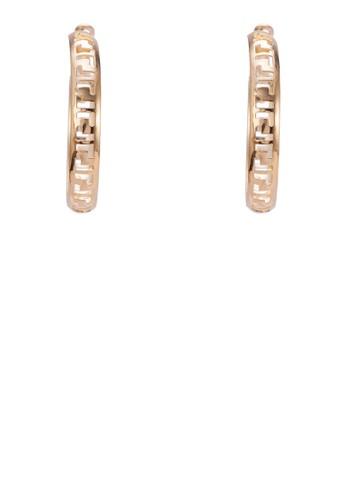 雕花圈zalora開箱形耳環, 飾品配件, 耳扣