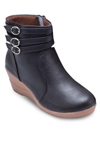 Liz 層次踝帶楔形zalora 心得低筒靴, 女鞋, 鞋
