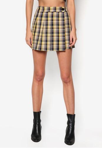 格紋裹飾zalora鞋迷你短裙, 服飾, 服飾