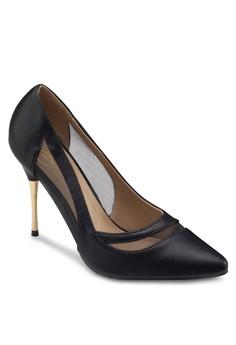 網紗拼接金屬細跟高跟鞋