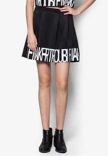 文字印花傘狀短裙, 服zalora鞋子評價飾, 服飾
