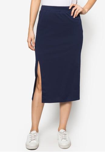 基本款側開衩及膝短裙, 服飾, 及zalora 評價膝裙