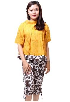 Batik Distro BA5488 Blus Celana Wanita Motif Timbul Kuning