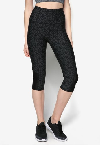 Bliss 彈性zalora 鞋評價印花運動長褲, 服飾, 緊身褲
