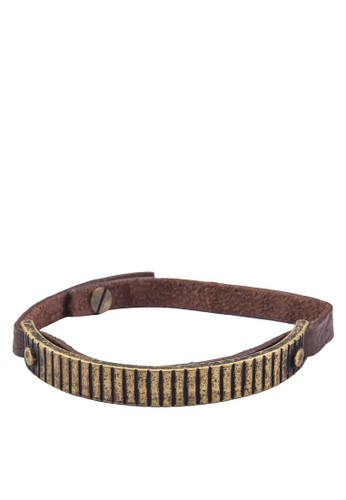 金屬刻紋皮zalora 心得革手帶, 飾品配件, 手環