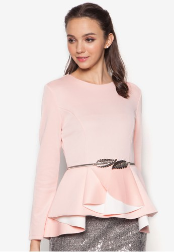 Pleated Colourblock Peplum Top, zalora退貨服飾, Tops