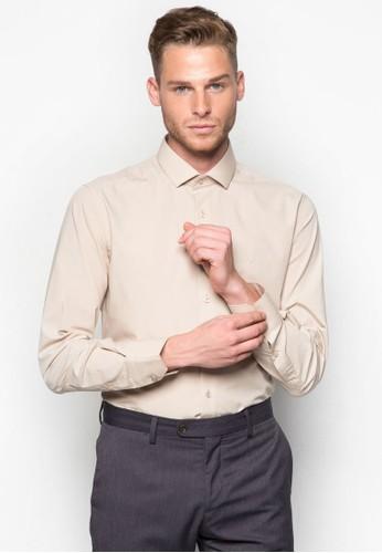 素色合身zalora 心得長袖襯衫, 服飾, 襯衫