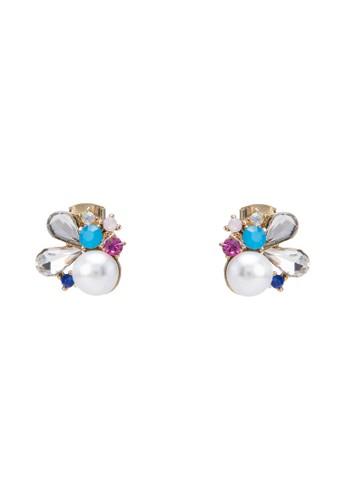 珍珠水鑽花卉耳環, 飾品配件, 飾zalora 鞋評價品配件