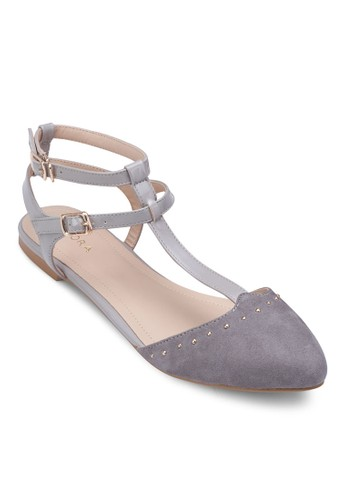 鉚釘雙踝帶平底鞋, 女鞋, 芭蕾平底zalora 台灣鞋