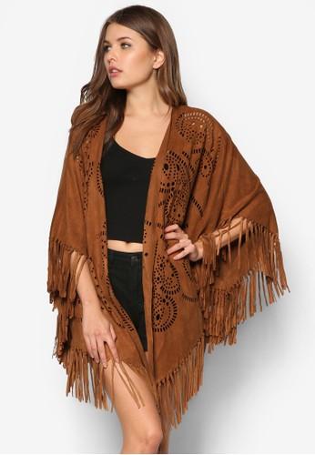 Premium 雕花麂皮披肩外套zalora退貨, 服飾, 毛衣& 針織外套