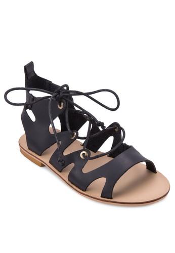 Morgin 繫帶鏤空羅馬涼zalora開箱鞋, 女鞋, 鞋