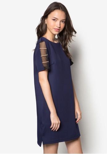 牌zalora 心得飾網紗挖背連身裙, 服飾, 短洋裝