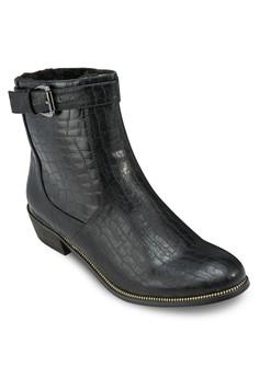 壓紋高跟中筒靴