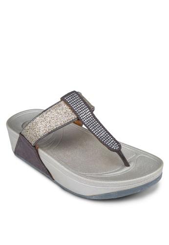 閃飾亮面夾zalora 評價腳厚底涼鞋, 女鞋, 拖鞋