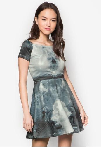 水zalora 心得彩畫露肩連身裙, 服飾, 夏日洋裝