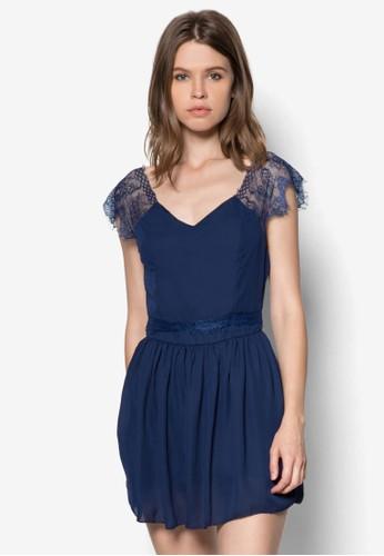 蕾絲拼接露背迷你zalora 心得洋裝, 服飾, 服飾