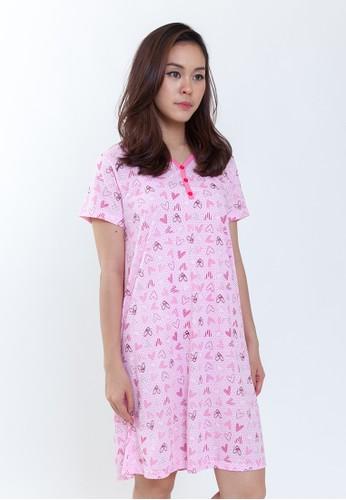 Razzberry Buttoned Dress Print Bear Love Pink