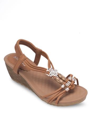 珠飾T 字帶楔型跟涼鞋, 女鞋, zalora 心得楔形涼鞋