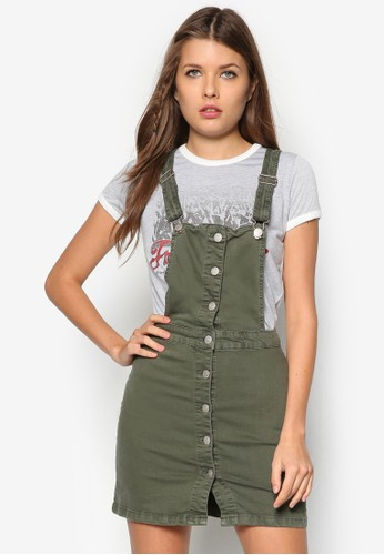 單排扣吊帶牛仔連zalora 心得身裙, 服飾, 服飾