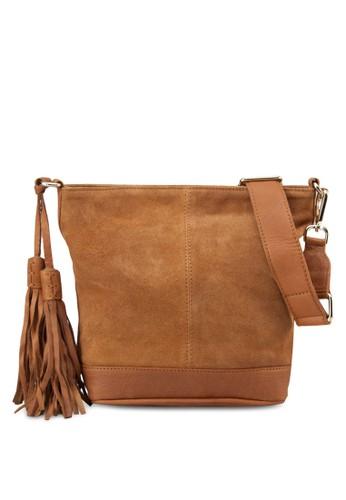 zalora 評價仿麂皮斜背包, 包, 飾品配件