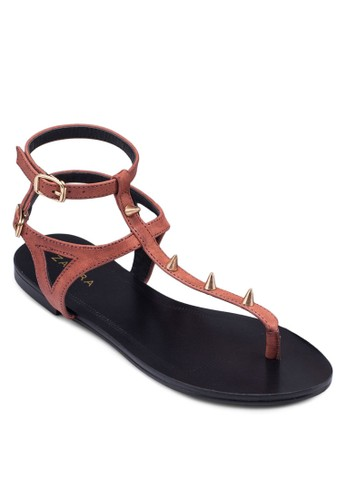 尖釘T字帶雙繞踝涼鞋,zalora退貨 女鞋, 鞋