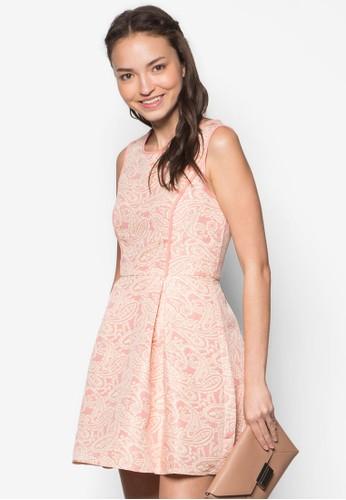 佩斯利印zalora退貨花褶飾洋裝, 服飾, 短洋裝