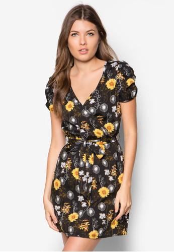 蒲公英印花裹飾洋裝,zalora 台灣 服飾, 洋裝