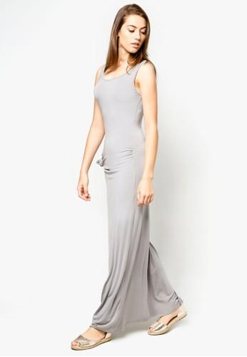 側zalora鞋子評價扭結挖背背心長洋裝, 服飾, 服飾