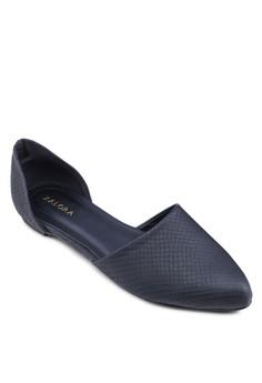 D'Orsay 蛇紋尖頭側鏤空平底鞋