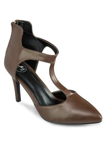 T 字帶後zalora退貨拉鍊高跟鞋, 女鞋, 高跟鞋