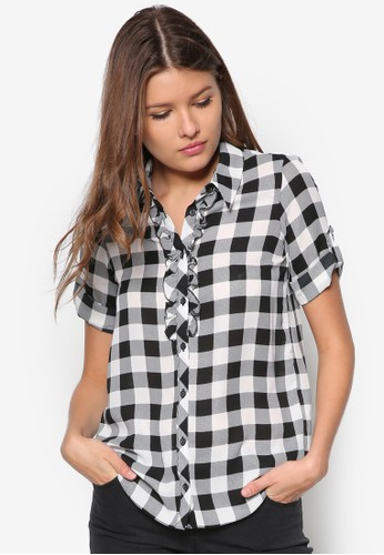 zalora開箱Petite 荷葉飾格紋短袖襯衫, 服飾, 服飾