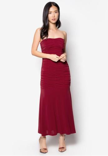 抓褶露肩長禮服,zalora 評價 服飾, 長洋裝